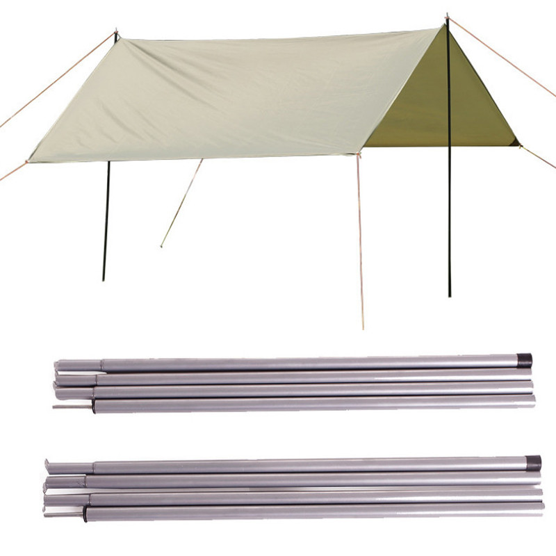 2pcs 2m Folding Tent Tarp Awning Sunshade Poles Rods with Bag Camping Grey