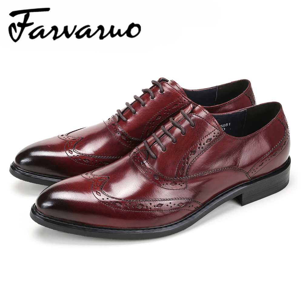 Farvarwo Mens Business Shoes Genuine Leather Pointed Toe Formal Oxford Black Brand Luxury Dress Shoes Wedding Brogue Oxfords Men men luxury crocodile style genuine leather shoes casual business office wedding dress point toe handmade brogue footwear oxfords page 4 page 5 page 1