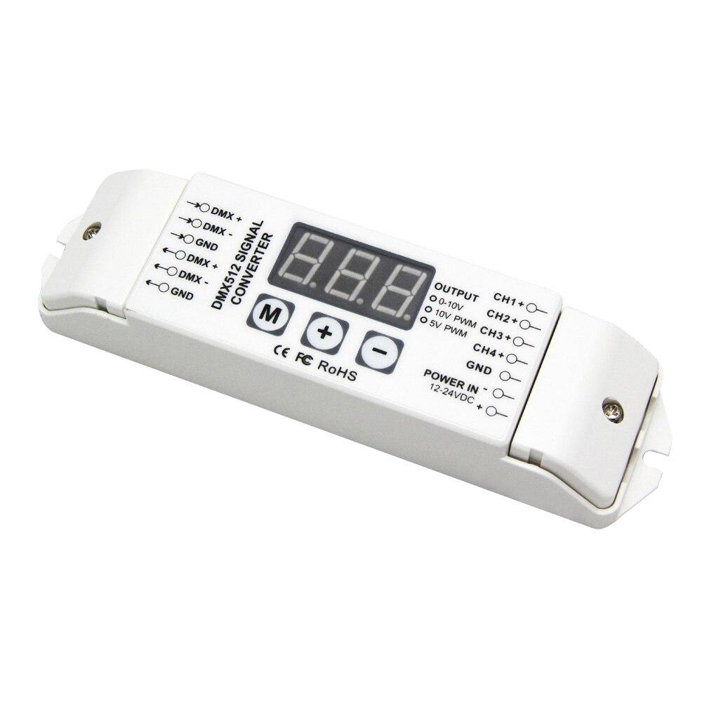 4CH PWM 5 V/PWM 10 V signal DMX512 convertisseur de Signal, 3-affichage numérique montre, DMX512 Led pilote contrôleur DC12V-24V BC-834-PWM