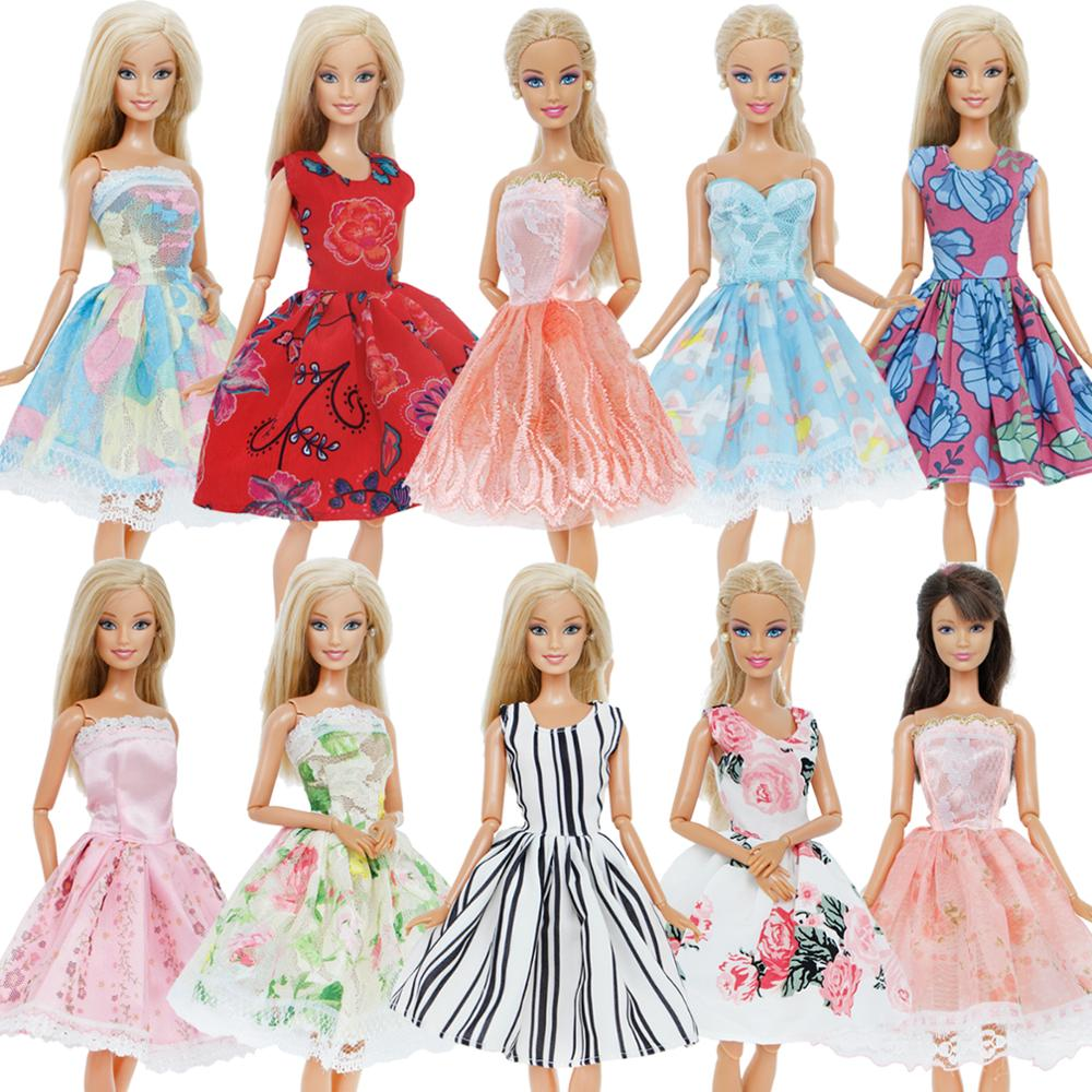 5 Pcs / Lot Handmade Mini Dress Mixed Style Wedding Party Wear Skirt Lace Gown Clothes For Barbie Doll Accessories Toy Kids
