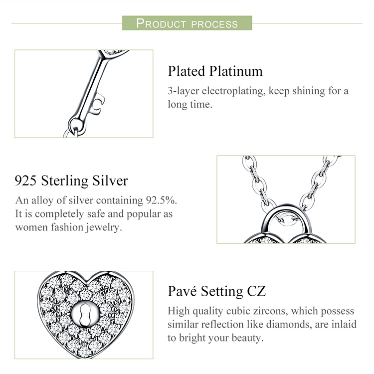 HTB1hhmiNYPpK1RjSZFFq6y5PpXaz BAMOER Pure 925 Sterling Silver Clear CZ Heart Lock and Key Link Chain Choker Necklace for Women Luxury Statement Jewelry SCN315