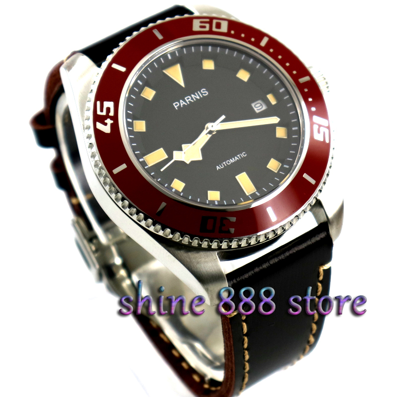 Parnis black dial Stainless Steel Case Sapphire glass Red Bezel miyota automatic diver mens watch