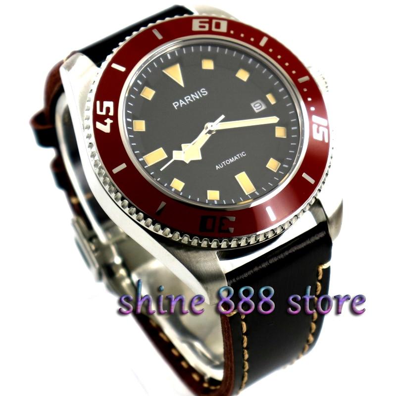 파르 미스 블랙 다이얼 스테인레스 스틸 케이스 사파이어 레드 베젤 미요 타 오토매틱 다이버 남성 시계-에서기계식 시계부터 시계 의  그룹 1