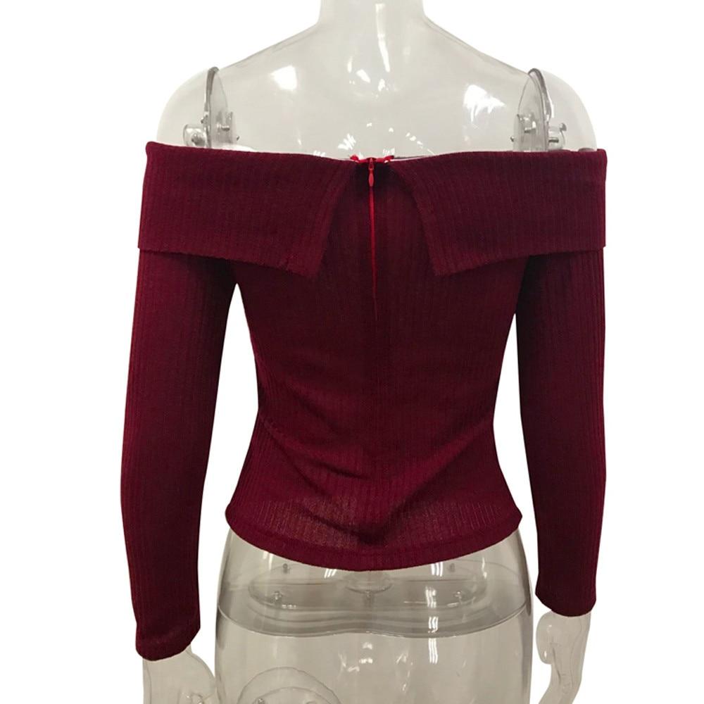 FEIOTNG Womens shirt Sexy Off Shoulder Fashion Knitting T-Shirt Casual Long Sleeve Slash Neck Blusa Top New Autumn Winter Shirt