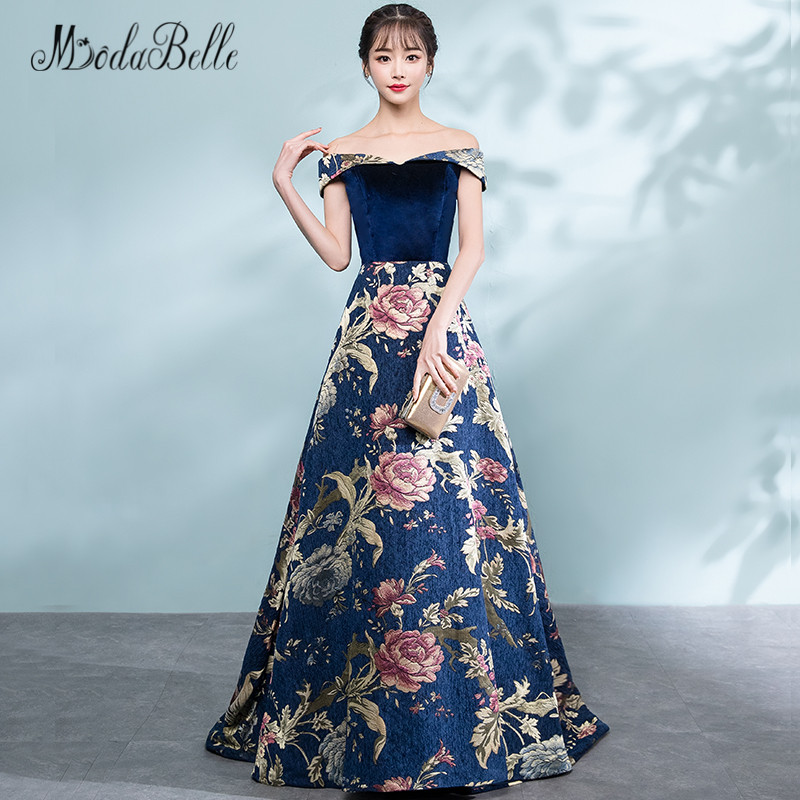 Abiti Eleganti Da Sera.Modabelle Velvet Floral Prom Dresses Off The Shoulder A Line Abiti