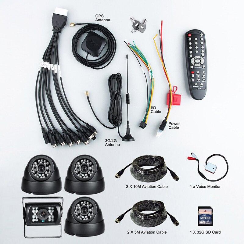 Livraison gratuite 3G en ligne AHD Mobile Dvr, 4CH 1080 P voiture Dvr + 4 caméras Bus Taxi voiture véhicule surveillance Mdvr avec alarme e/s - 4