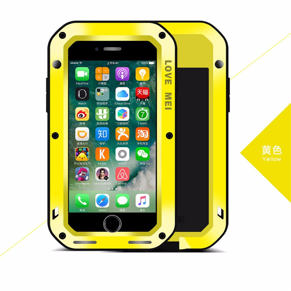 Luxury Shockproof Waterproof Aluminum Metal Armor Hard Case, Durable back Cover with Gorilla Tempered Glass For IPhone6S