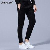 JOSALEM Men Side Double Striped Zipper Pants Cotton Track Sweatpants Trousers Mens Drawstring Waist Fashion Casual
