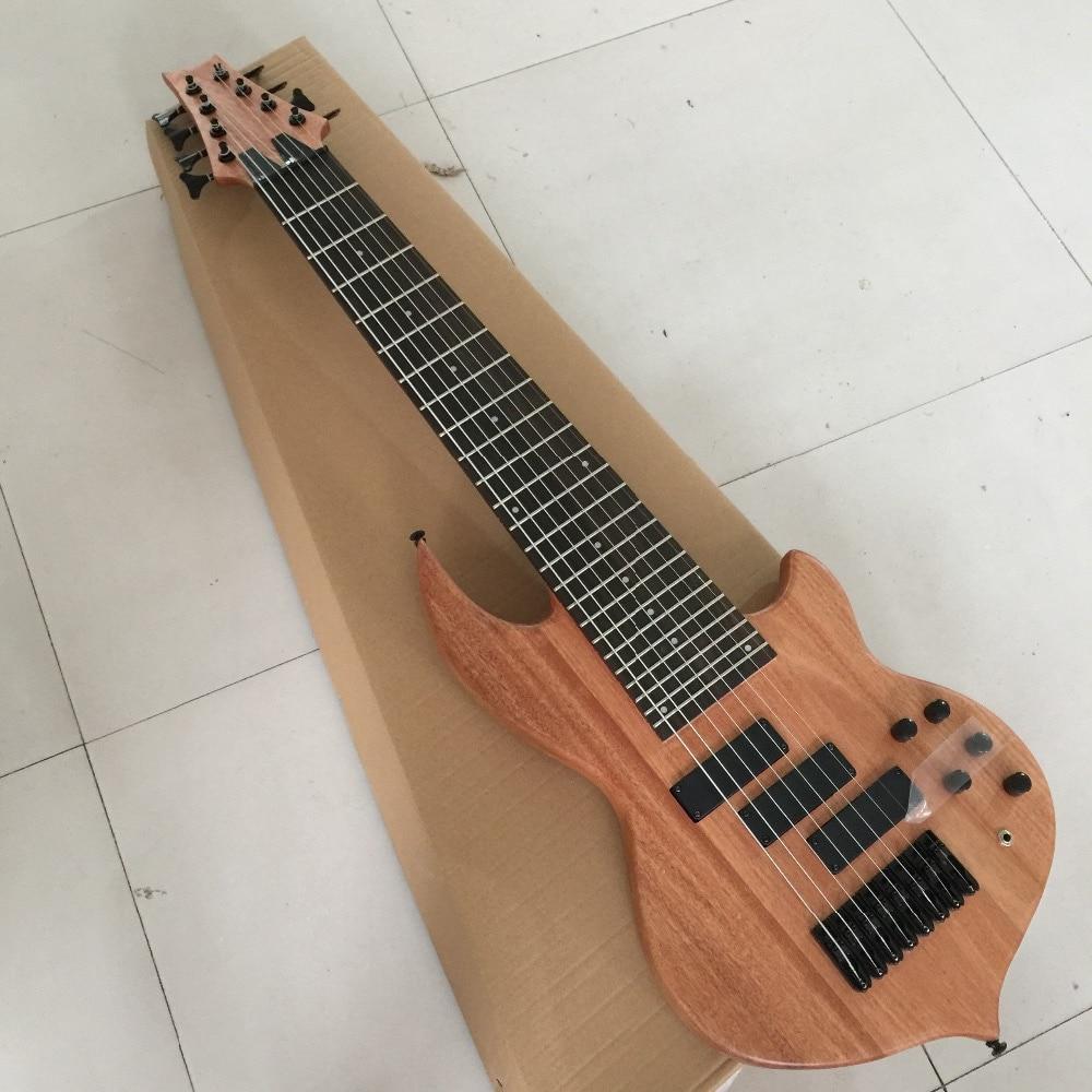 Usine Personnalisé 24 frettes 8 cordes cou-thru-corps Électrique Basse Guitare avec 3 micros, palissandre fretsboard, peut être personnalisé