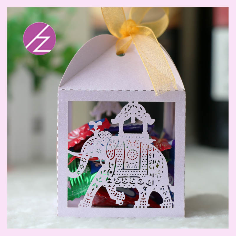 100cs/lot laser cut pearl paper Indian Style Elephant small box Wedding Party decorationn Souvenirs Favor Gift Chocolate box image