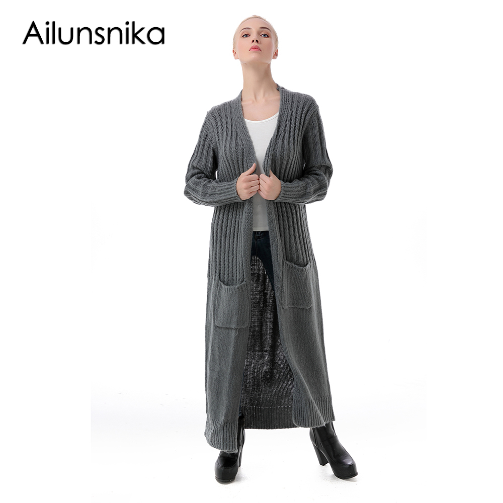 Ailunsnika Women Long Sweater Cardigan With Pockets 2018 Autumn Winter Long Sleeve Kintted Crochet Open Front Cardigan SW136