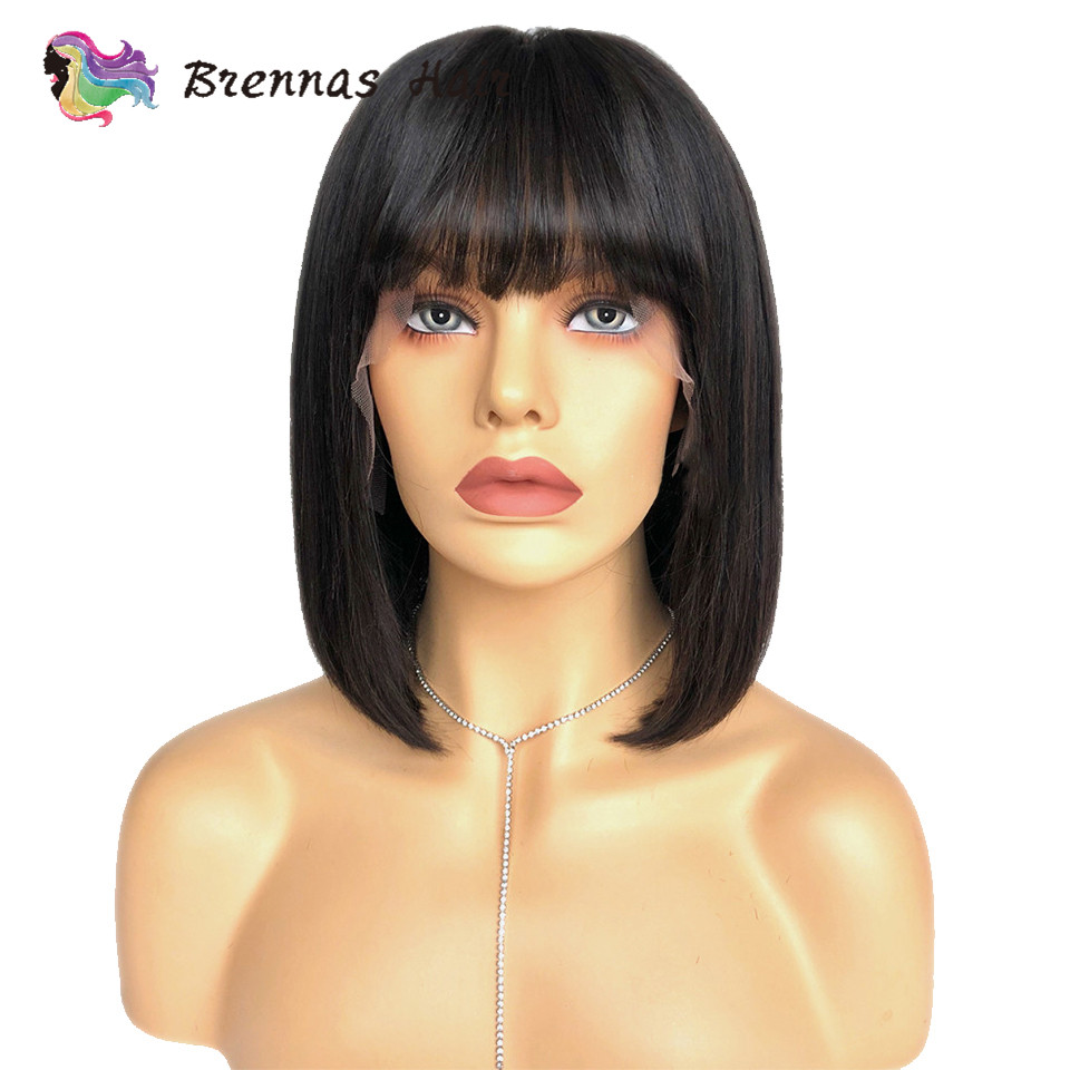 13X6 short straight wig with bangs Brazlilian human Remy hair 13X4 pre plucked bob lace front