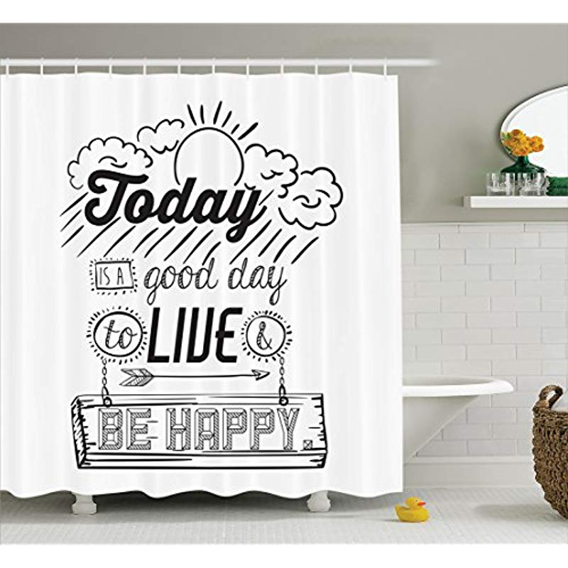 Vixm Quotes Shower Curtain by Today is a Good Day to Live Be Happy Enjoy Reminding Gratitude Inspire Vision Fabric Bath Curtains image