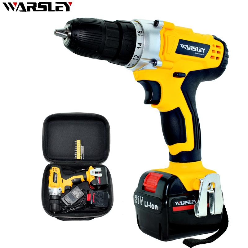 21V Charged Drill Lithium  Batteries Screwdriver Electric Rechargeable With Mini Cordless Double Speed Power Tools