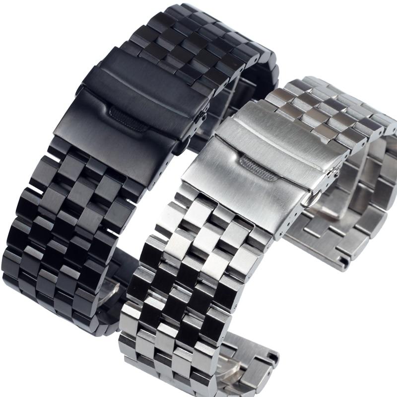 Solid Stainless Steel Metal Watch Bracelets 18MM 20MM 22MM 24MM 26MM For Men's Watch Bands PAM441 Gear Sport S2 S3 Watch Straps