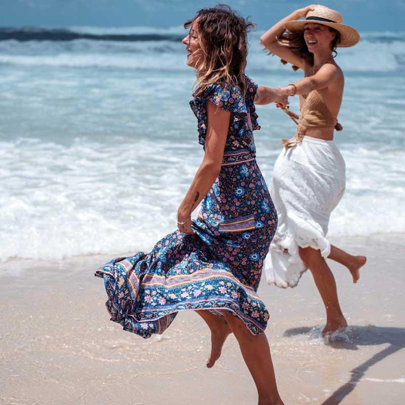 Boho zainspirowany 2017 letnie sukienki kwiatowy print cotton backless długi maxi dress hippie chic ruffles rękawem kobiety sexy vestidos 6