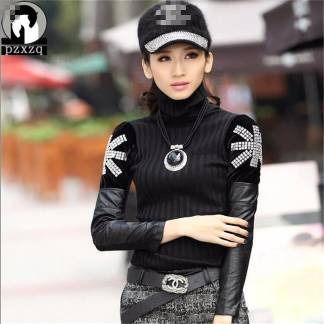 2019 Winter New Fashion Cashmere Sweater Women Casual Slim Sexy Black Turtleneck Long Pullover Diamante Leather Sweater