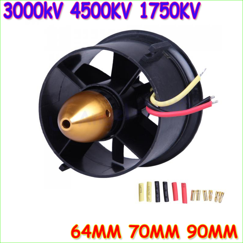 1 set 70mm duct fan+3000kv Motor Spindle-4mm 64mm fan+4500kv motor 90mm fan+1750KV motorfor jet RC EDF freeship