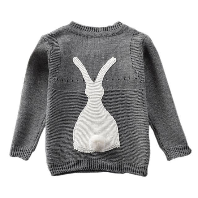 Definitivamente Lindo Conejo 3D de manga Larga Pequeño Niños Suéter de Invierno Girl & Boy Niño de Los Niños del Suéter de los Géneros de punto Ropa MA03MY