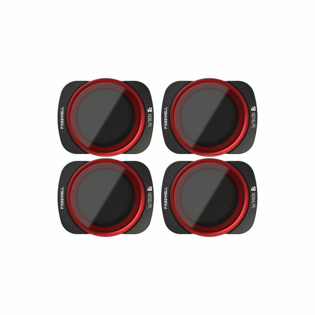 Freewell Bright Day – 4K Series – 4Pack ND8/PL, ND16/PL, ND32/PL, ND64/PL Camera Lens Filters for DJI Osmo Pocket, Pocket 2