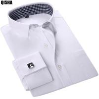 QISHA 2017 New French Cuffs Mens Dress Shirts Long Sleeve Social Fomal Male Clothing Solid / Striped High Quality Slim fit FSxx
