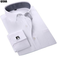 2016 New French Cuffs Mens Dress Shirts Long Sleeve Social Fomal Male Clothing Solid Striped Men