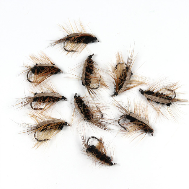 10PCS #6 Black Body Woolly Worm Brown Caddis Nymph Fly Deer Hair Beetle Trout Fly Fishing fly Bait 1
