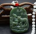 Real Natural HeTian Jade mão esculpida três Shepp bênção sorte pingente de Jade verde colar de Jade jóias