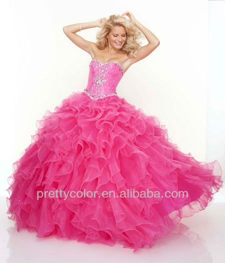 Ball Gown Pink Organza Sweetheart Sparkle Diamond Floor Length Prom Dress Purple Sweet 16 Dresses Quinceanera Gowns In From Weddings