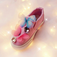 2016 Children's canvas shoes spring autumn girls diamond princess baby shoes casual shoes students fashion bow shoes flattie