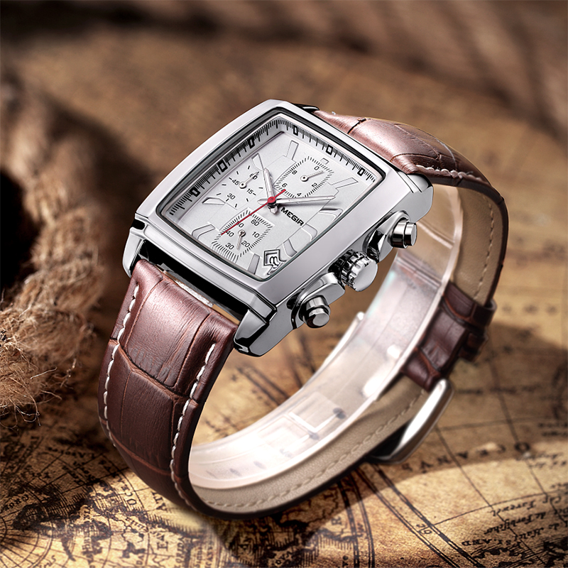 MEGIR Original Watch Men Top Brand Luxury Rectangle Quartz Military Watches Waterproof Luminous Leather Wristwatch Men Clock 4
