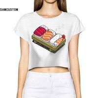 SAMCUSTOM 2017 Kawaii Sushi slapen Vrouwen 3D Print Fashion Crop Tops Straat t-shirt Blote Middenrif Sexy T-Shirt gratis verzending