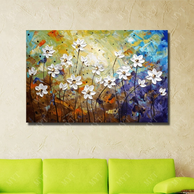 Hand Drawing Good Quality White Flower Painting For Home Decoration Simple Design Knife Room Oil