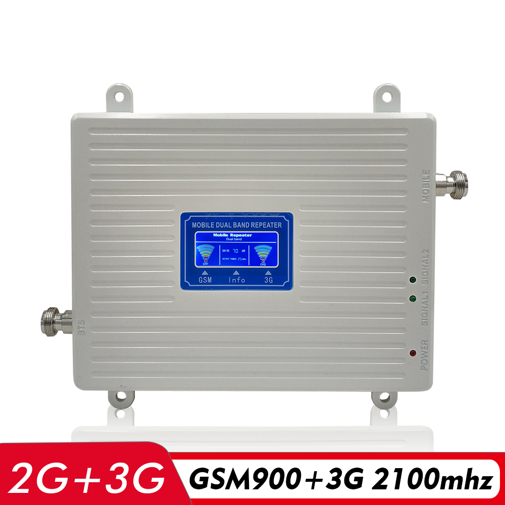 Gain 65dB 2G 3G Dual Band Booster 900MHz+2100MHz Cellular Signal Amplifier GSM 900 UMTS WCDMA 2100 Cell Phone Signal Repeater