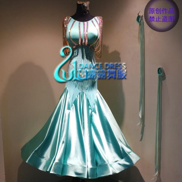 Women swing tango waltz Smooth us 8 dance competition dress Gradation  ballroom dance dress Mint Green ballroom dance dress