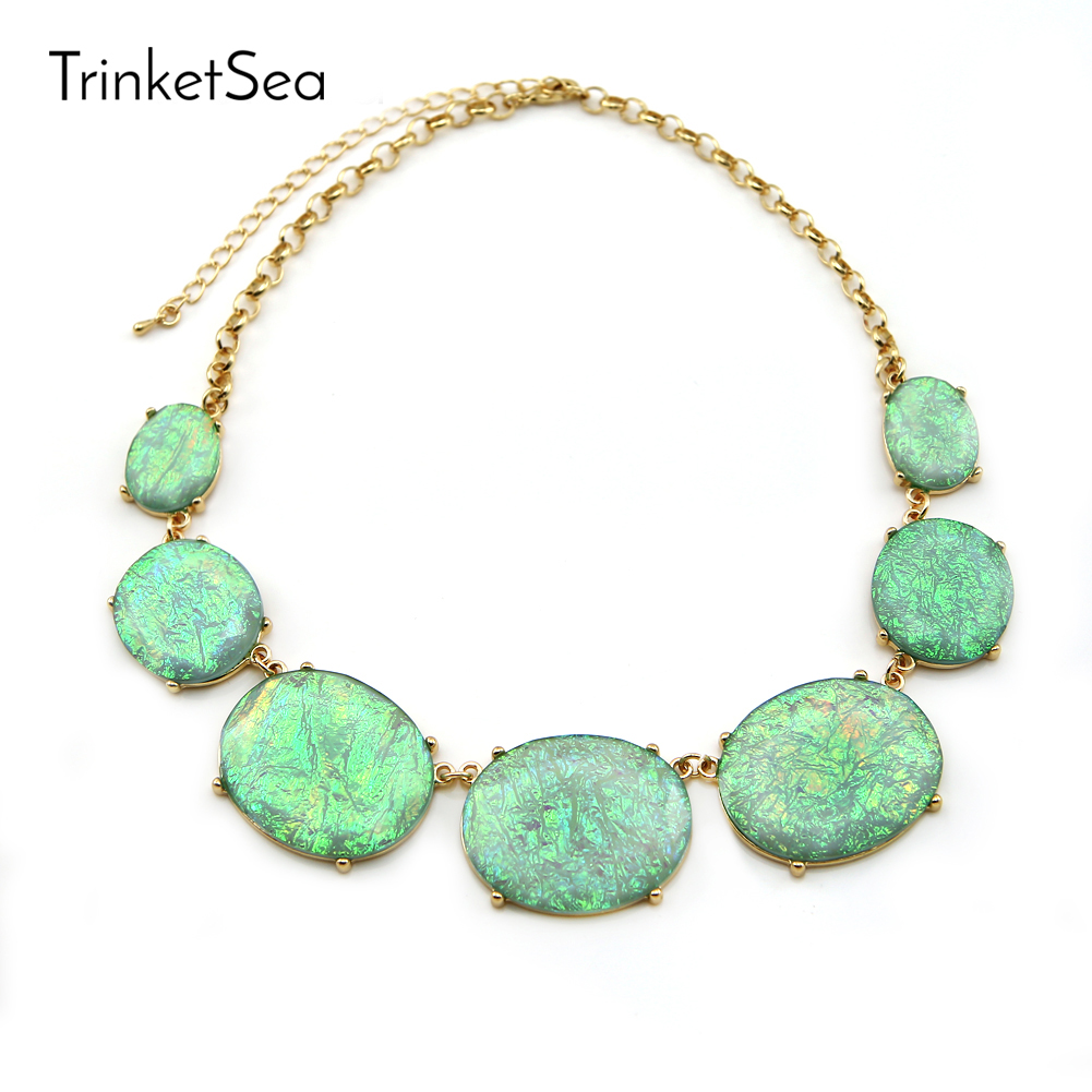 TrinketSea 2017 New Arrival Women Shining Statement Necklace Short Bib Chokers Fashion Jewelry Colorful Trendy Style Necklaces