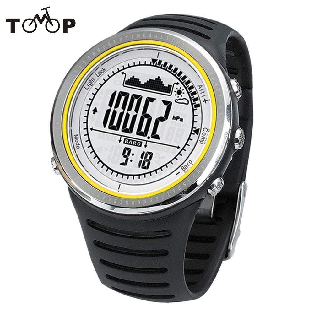 5ATM étanche altimètre boussole chronomètre pêche baromètre podomètre Sports de plein air montre multifonction