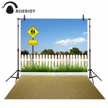 Allenjoy school bus road photography backdrop for photo studio spring sky grass student Background photocall photobooth