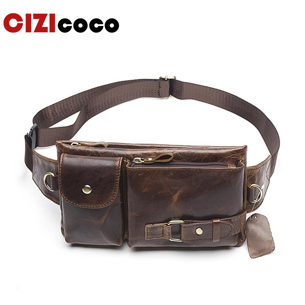 New Genuine Leather Waist Packs Bag Belt Men Phone Pouch Bags Zipper Travel Pack Vintage Male