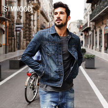 SIMWOOD 2018 New Spring Winter denim jacket men fashion streetwear jeans jacket 100% cotton NJ6510(China)