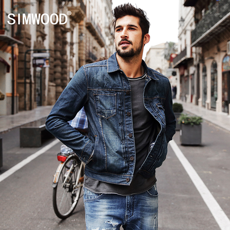 SIMWOOD 2018 New Autumn Winter denim jacket men fashion streetwear jeans jacket 100% cotton NJ6510