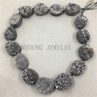 MY1167 Oval Slice Crystal Druzy GunBlack Titanium plated Beads,Nugget Quartz Hole Beads