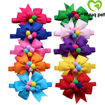 60PCS New Christmas Pet Puppy Dog Cat Bow Ties with Dog Bowknot Bowties Cute Pompon Dog Cat Collars Pet Accessories Pet Supplies - SALE ITEM Home & Garden