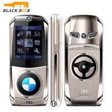 "Mosthinkw760 الوجه الهاتف المحمول المزدوج سيم بطاقات 1.77 ""هيئة معدنية صغيرة نمط سيارة كاميرا واحدة الأساسية زر لوحة مفاتيح روسية الهاتف"