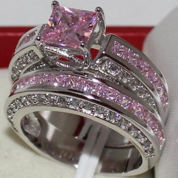 mmdgem eternity engagement ladys 925 sterling silver princess cut pink zircon stone cz prong set wedding 2 in 1 ring sets in rings from jewelry - Pink Wedding Rings