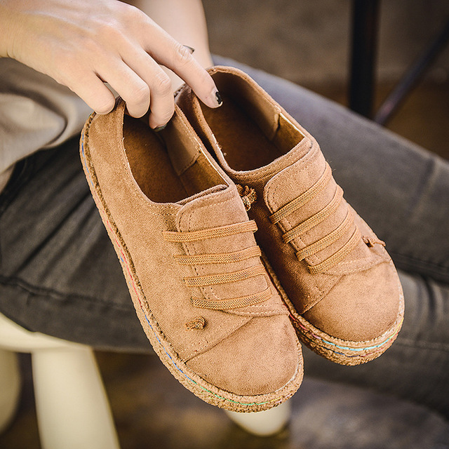 Flat Shoes Women Autumn Shoes Woman Casual Lace-up Flats Comfortable Round Toe Loafers Shoes Fashion Flat Shoes 856 4