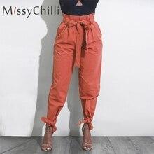MissyChilli Ruffle high waist casual pants Women bow tie loo