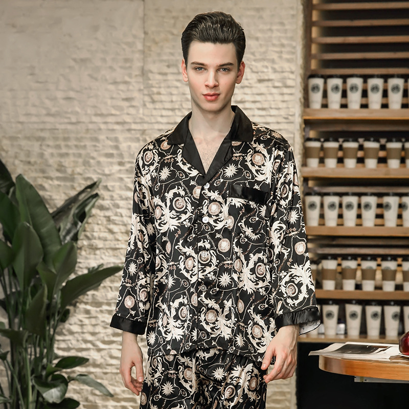 40dfd3d9e48c Cozy Nightwear 2018 Men Fashion New Autumn Pajamas Men Set Home Clothes  Printed Faux Silk Sleepwear High Quality Male Gift TZ778