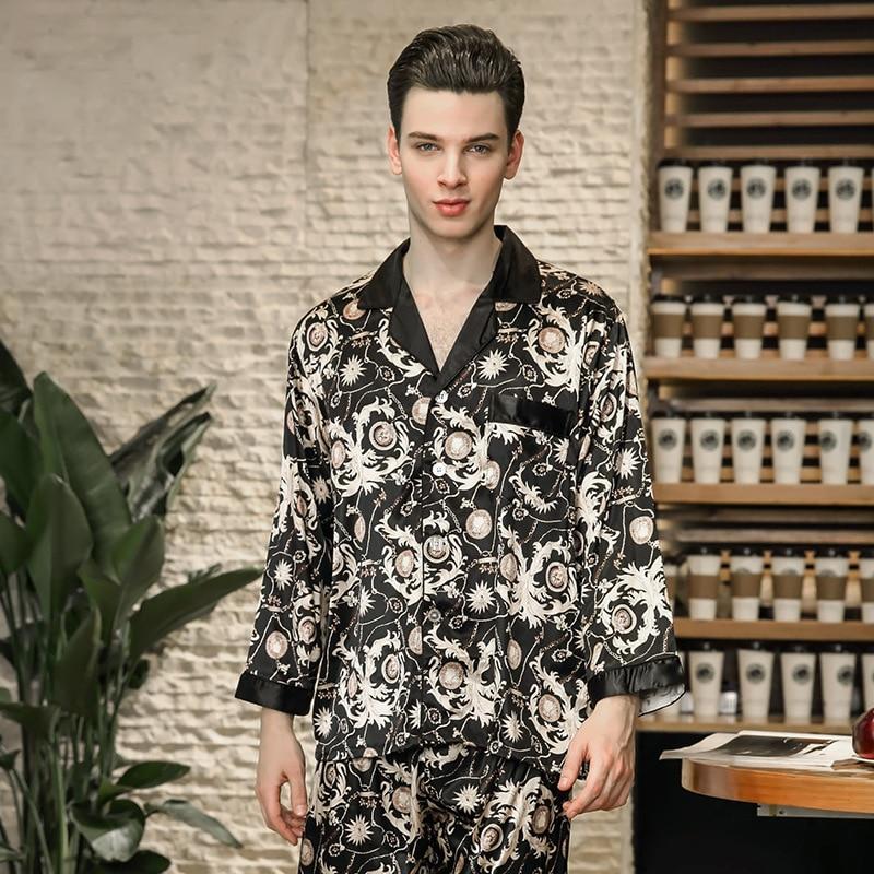 50b834e58f51e8 Cozy Nightwear 2018 Men Fashion New Autumn Pajamas Men Set Home Clothes  Printed Faux Silk Sleepwear High Quality Male Gift TZ778