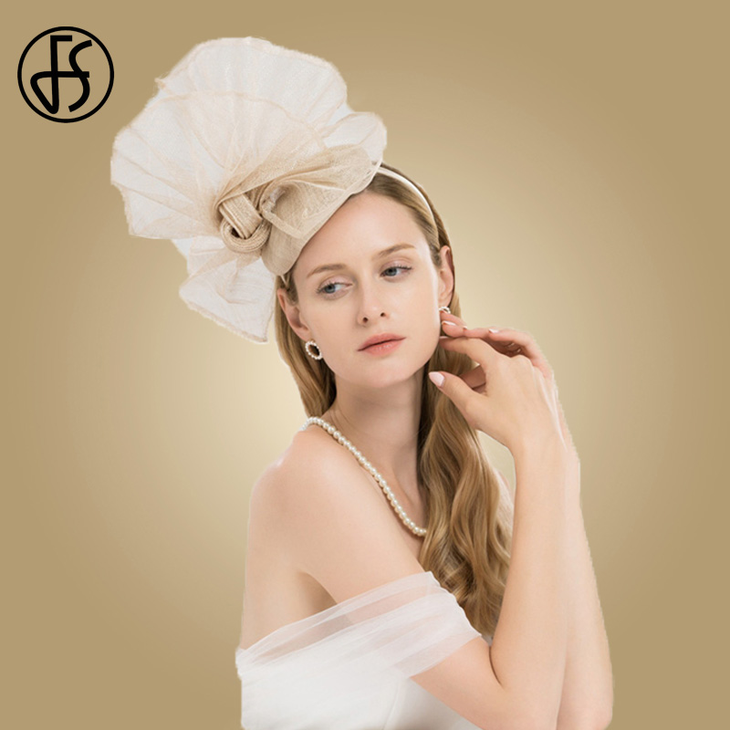 FS Champagne Color Flower Church Hats Women Elegant Sinamay Fascinator Base Ladies Wedding Pillbox Hat Bow